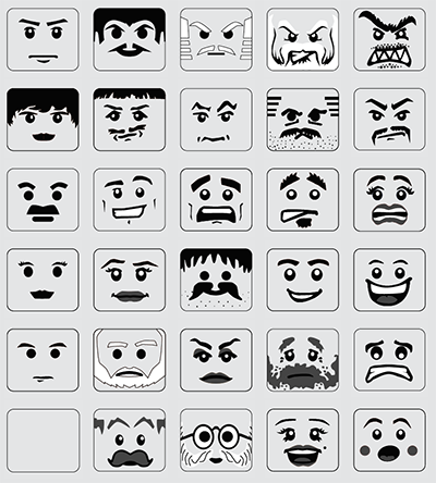 Lego pictorial scales for assessing affective response for Lego minifigure head template