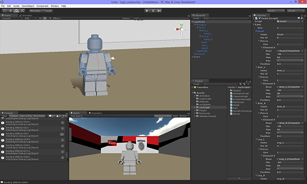 The robot engine making unity d game work